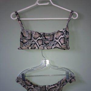 Animal Print Ribbed Bikini Set
